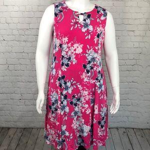 JM Collection Pink Sleeveless Floral Dress Size XL